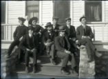 Sociology students on the steps of student housing
