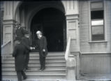 Lyman Abbott on the steps of Holmes Hall
