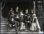 Students on steps of Sumner Hall, Pomona College