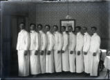 Waiters in Sumner dining room, Pomona College