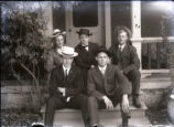 Students on steps of the Fulkerson's house in Claremont, California