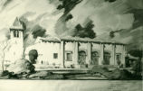 Men's dormitory lounge and club buildings drawing, Pomona College