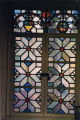 Stained glass in Rare Book Room of Denison Library, Scripps College