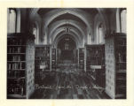 Bookcases and Gutenberg Window of Denison Library, Scripps College