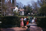 Students walking in front of Toll Hall, Scripps College