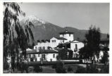 Mount Baldy beyond Browning Hall, Scripps College
