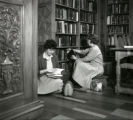 Two students in Denison Library, Scripps College