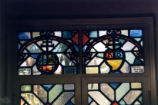 Denison Library rare book room stained glass, Scripps College