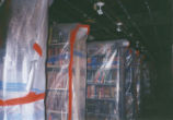 Books wrapped in plastic during renovation at Honnold/Mudd Library