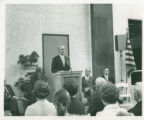 Richard D. Johnson speaks at dedication of Seeley W. Mudd Library