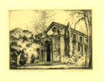 Bridges Hall of Music etching, Pomona College