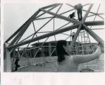Students paint the geodesic dome, Pitzer College