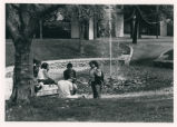 Students by Pellissier Fountain, Pitzer College