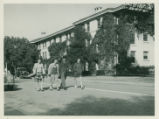 Students in front of Smiley Hall Dormitory, Pomona College