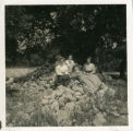 Relaxing on a pile of rocks, Pomona College