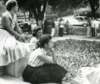 Students in front of dorm, Pomona College