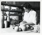 Woman with ceramics, Scripps College