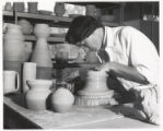 Woman with pottery wheel, Scripps College