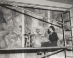 Student with mural, Scripps College