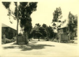 Pomona College gates, wide view, Pomona College