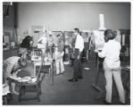 Students, professor in art studio, Scripps College
