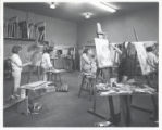 Art students work in studio, Scripps College