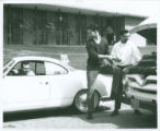 Students repairing automobile, Harvey Mudd College