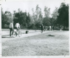 Students riding bicycles, Harvey Mudd College