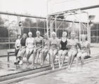 Swimmers on diving board, Scripps College
