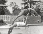 Swimmer diving, Scripps College