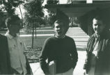 Students in front of Thomas-Garrett Hall, Harvey Mudd College