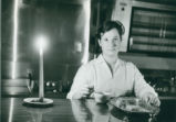Cafeteria worker with candle, Harvey Mudd College