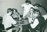 Students playing card game, Harvey Mudd College