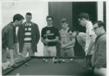 Students playing pool, Harvey Mudd College