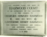 Harwood Court plaque, Pomona College