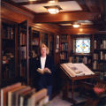 Judy Harvey Sahak in the Rare Book room, Ella Strong Denison Library