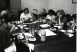 Studying and eating in Dorsey Hall dining room, Scripps College