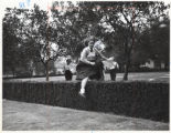 Dawn Gardner jumping over a hedge in Jaqua quad