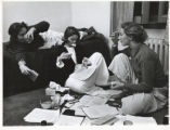 Studying in a dorm room, Scripps College