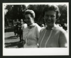 Two women attending the Dedication of Drake Wing celebration, Scripps College