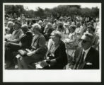 Audience listens to speakers at the dedication of Drake Wing celebration, Scripps College