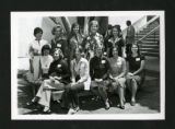 Scripps alumnae from the class of 1966 sitting together in the Humanities Quad at their reunion, Scripps College