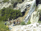 Relaxing at the waterfall, Vivian High Creek Camp
