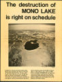 The destruction of Mono Lake is right on schedule