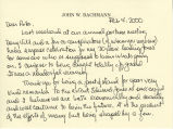 Correspondence from John W. Bachmann to Peter Drucker, 2000-02-04