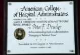 American College of Hospital Administrators award