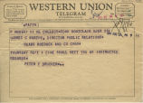 Telegram from Peter Drucker to James Worthy, 1955-08-24
