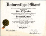 University of Miami Doctor of Letters awarded to Peter F. Drucker