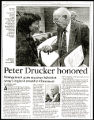 Article on Peter F. Drucker receiving Salvation Army award