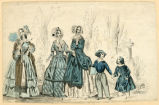 Three women and two children, circa 1830-1840s